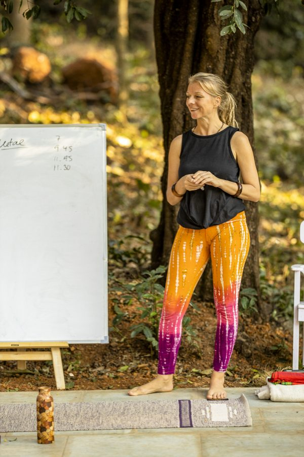 Alexandra teaching at the yoga therapy training India - 2