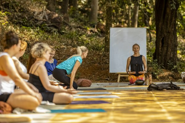 Alexandra teaching at the yoga therapy training India - 7