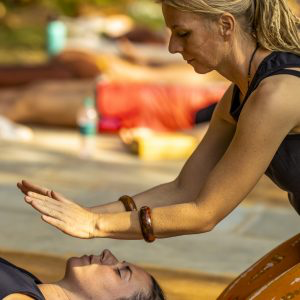 Alexandra teaching at the yoga therapy training India - 10